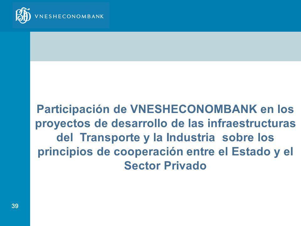 39 Participación de VNESHECONOMBANK en los proyectos de desarrollo de las infraestructuras del Transporte y la Industria sobre los principios de coope