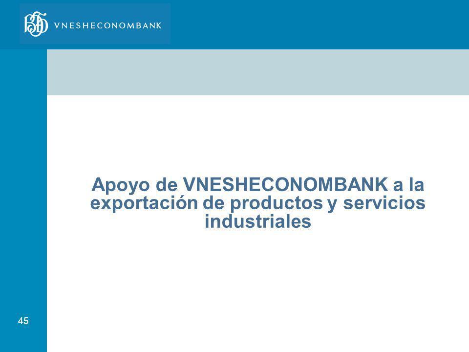45 Apoyo de VNESHECONOMBANK a la exportación de productos y servicios industriales