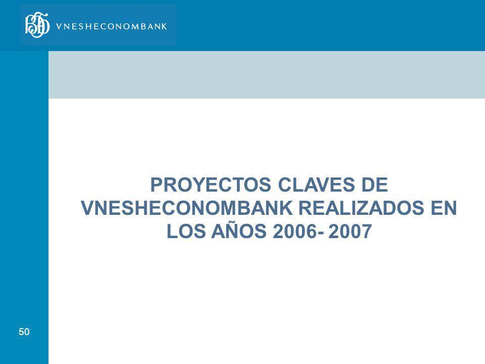 50 PROYECTOS CLAVES DE VNESHECONOMBANK REALIZADOS EN LOS AÑOS 2006- 2007