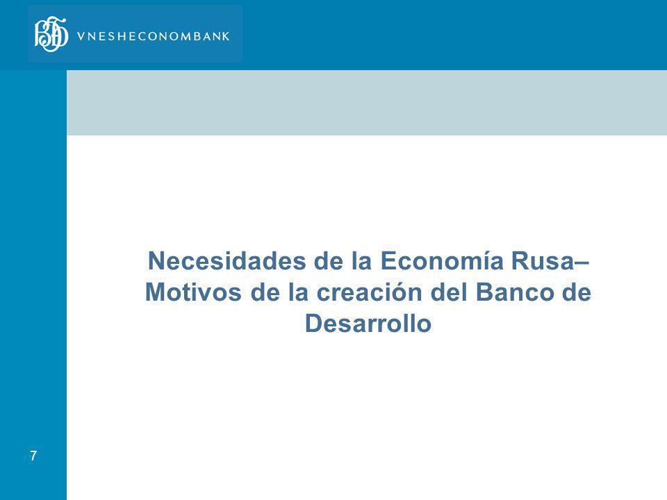 7 Necesidades de la Economía Rusa– Motivos de la creación del Banco de Desarrollo