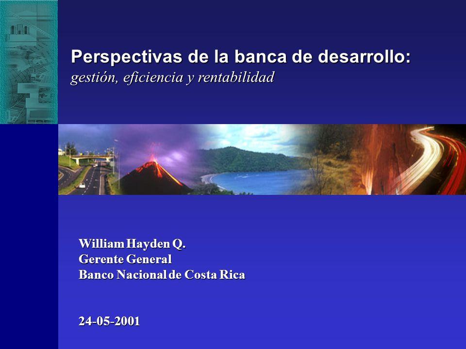 William Hayden Q. Gerente General Banco Nacional de Costa Rica 24-05-2001 Perspectivas de la banca de desarrollo: gestión, eficiencia y rentabilidad