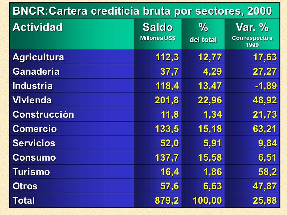 BNCR:Cartera crediticia bruta por sectores, 2000 ActividadSaldo Millones US$ % del total Var. % Con respecto a 1999 Agricultura112,312,7717,63 Ganader