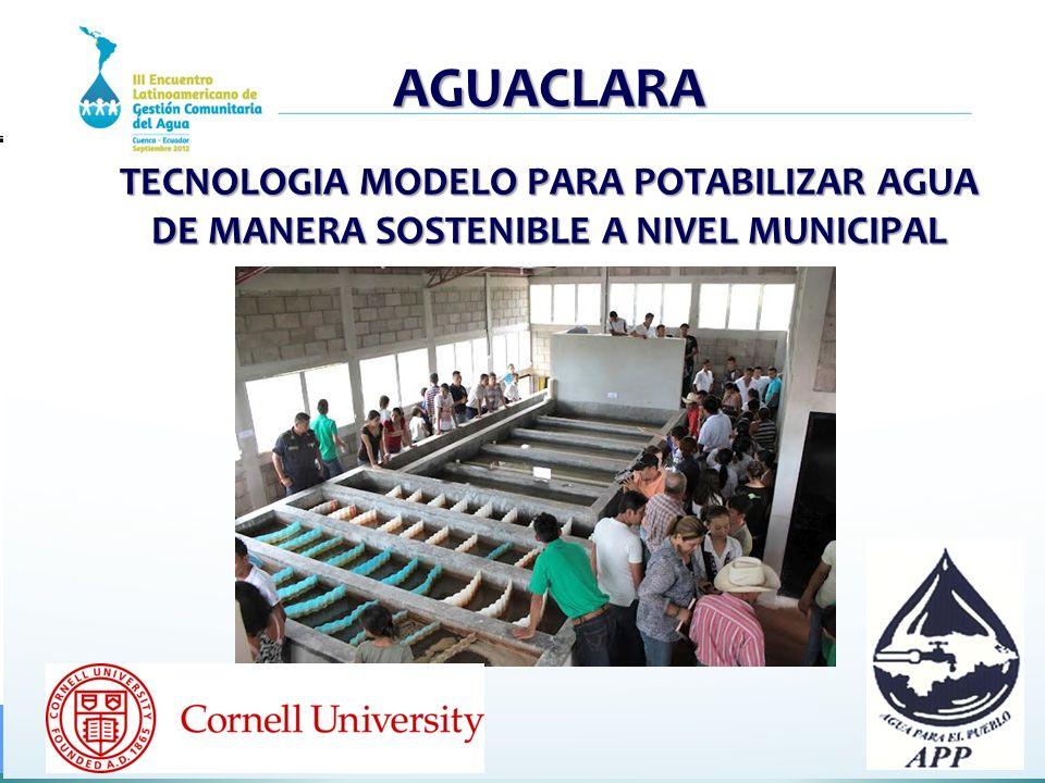 QUE ES AGUACLARA 1.Una tecnología sostenible y apropiada para la potabilización del agua en comunidades urbanas y rurales 2.Un programa de investigación, docencia, transferencia de conocimiento, y ejecución de plantas potabilizadoras sostenibles