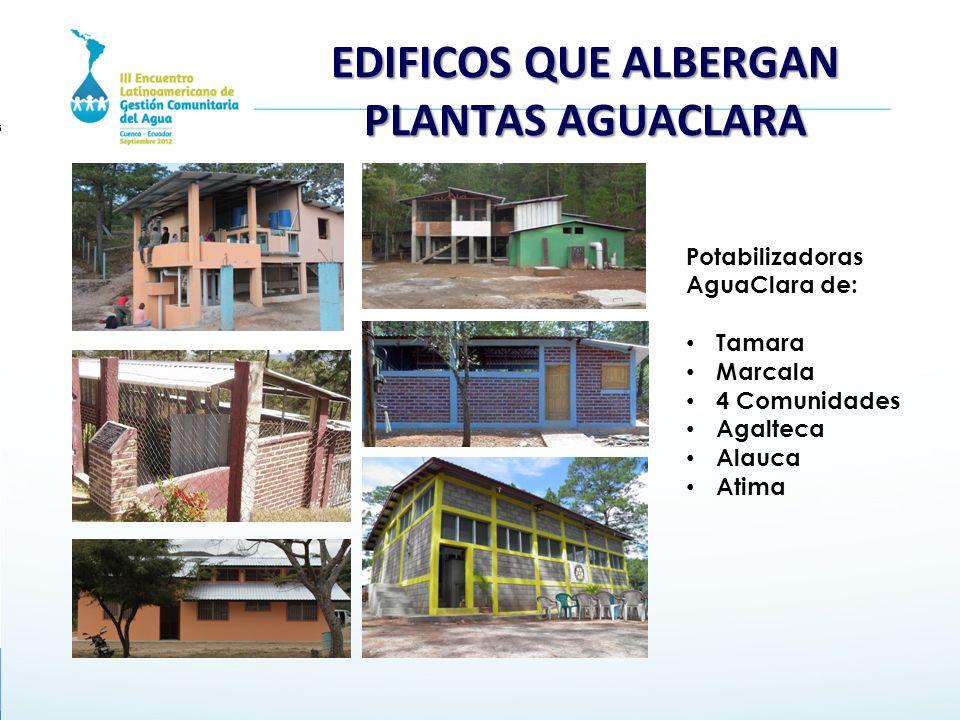 EDIFICOS QUE ALBERGAN PLANTAS AGUACLARA Potabilizadoras AguaClara de: Tamara Marcala 4 Comunidades Agalteca Alauca Atima