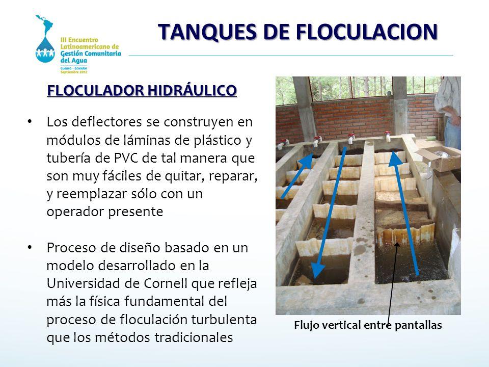 TANQUES DE FLOCULACION Los deflectores se construyen en módulos de láminas de plástico y tubería de PVC de tal manera que son muy fáciles de quitar, r