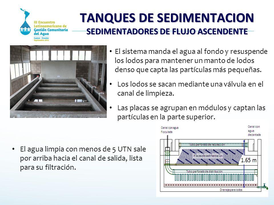 TANQUES DE SEDIMENTACION SEDIMENTADORES DE FLUJO ASCENDENTE El sistema manda el agua al fondo y resuspende los lodos para mantener un manto de lodos d