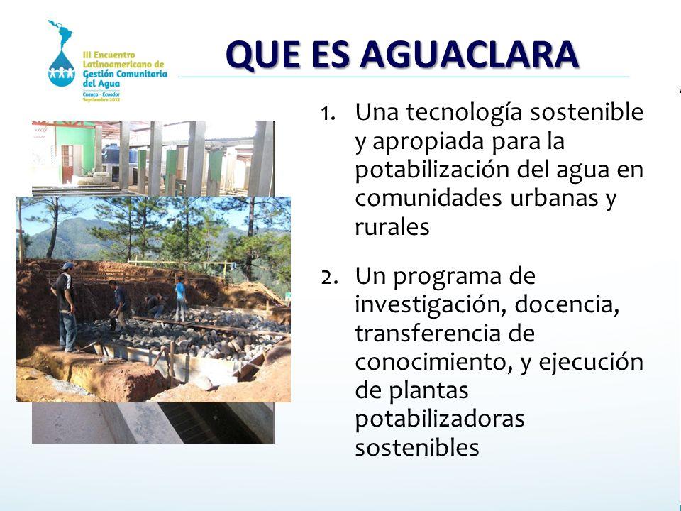 QUE ES AGUACLARA 1.Una tecnología sostenible y apropiada para la potabilización del agua en comunidades urbanas y rurales 2.Un programa de investigaci