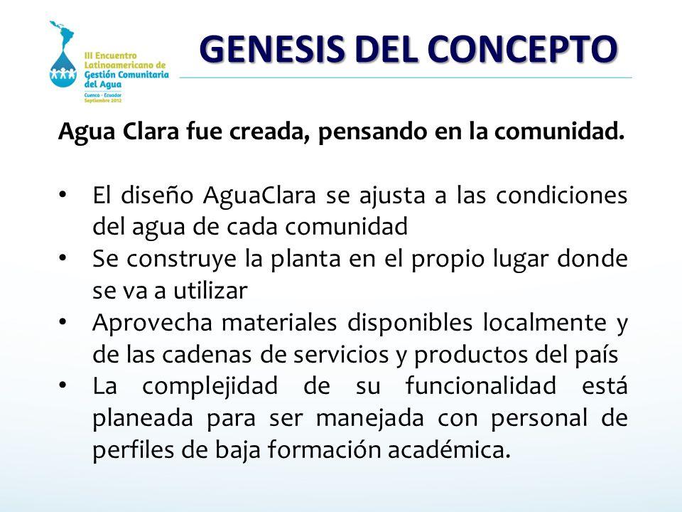 GENESIS DEL CONCEPTO Agua Clara fue creada, pensando en la comunidad. El diseño AguaClara se ajusta a las condiciones del agua de cada comunidad Se co