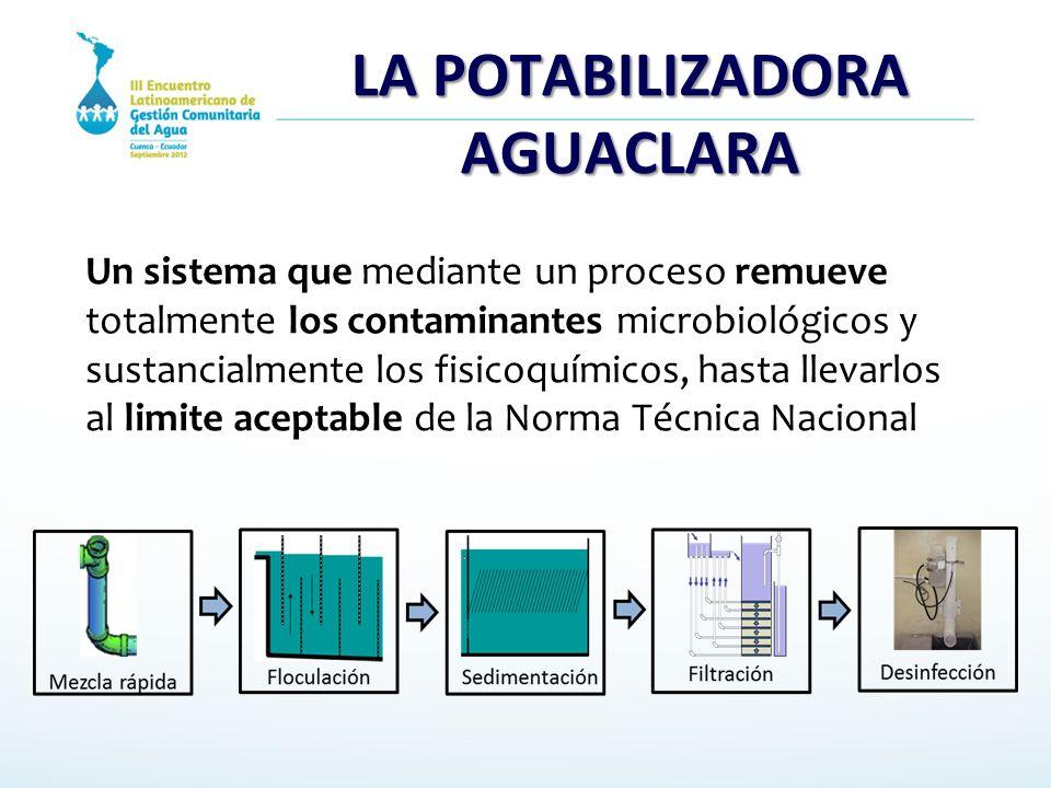 LA POTABILIZADORA AGUACLARA Un sistema que mediante un proceso remueve totalmente los contaminantes microbiológicos y sustancialmente los fisicoquímic