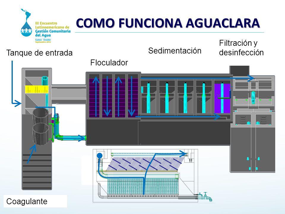 Floculador Sedimentación Tanque de entrada Filtración y desinfección Coagulante COMO FUNCIONA AGUACLARA