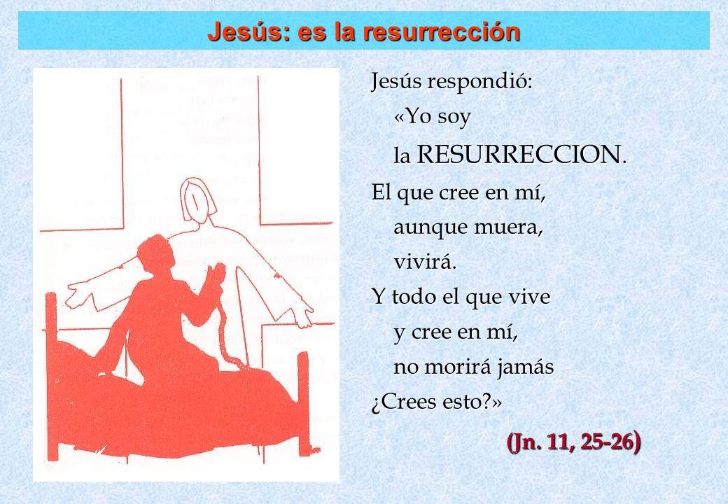 Jesús: es la resurrección Jesús respondió: «Yo soy «Yo soy la RESURRECCION. la RESURRECCION. El que cree en mí, aunque muera, aunque muera, vivirá. vi