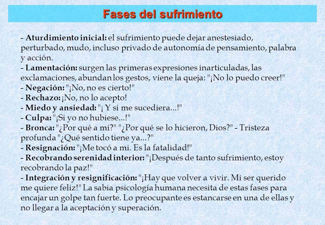 Fases del sufrimiento - Aturdimiento inicial: el sufrimiento puede dejar anestesiado, perturbado, mudo, incluso privado de autonomía de pensamiento, p