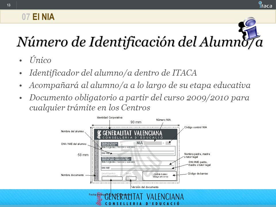 13 07 El NIA Número de Identificación del Alumno/a Único Identificador del alumno/a dentro de ITACA Acompañará al alumno/a a lo largo de su etapa educ