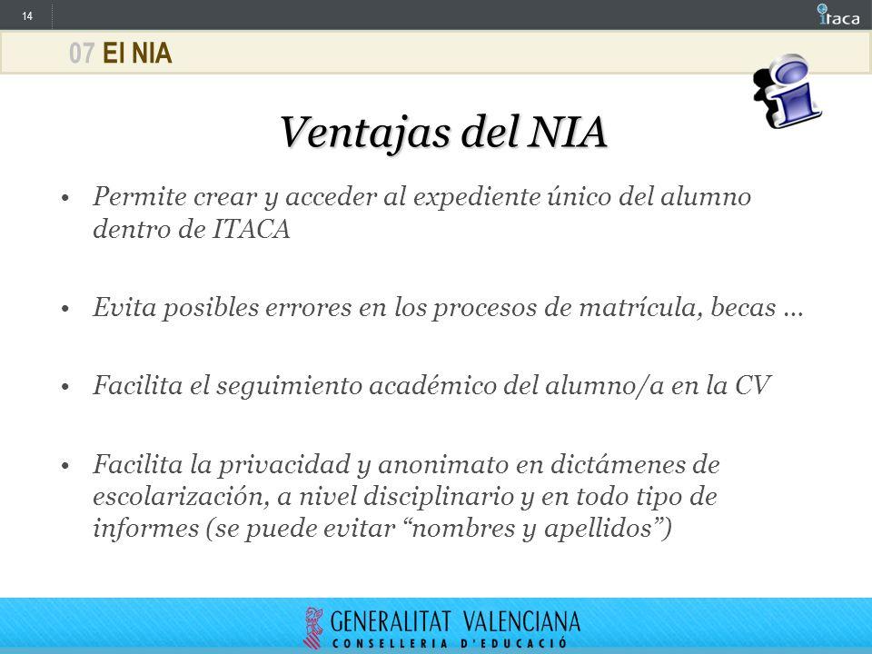 14 07 El NIA Ventajas del NIA Permite crear y acceder al expediente único del alumno dentro de ITACA Evita posibles errores en los procesos de matrícu
