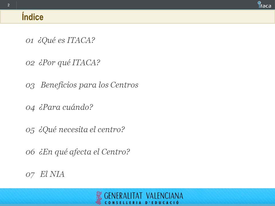 2 Índice 01 ¿Qué es ITACA? 02 ¿Por qué ITACA? 03 Beneficios para los Centros 04 ¿Para cuándo? 05 ¿Qué necesita el centro? 06 ¿En qué afecta el Centro?