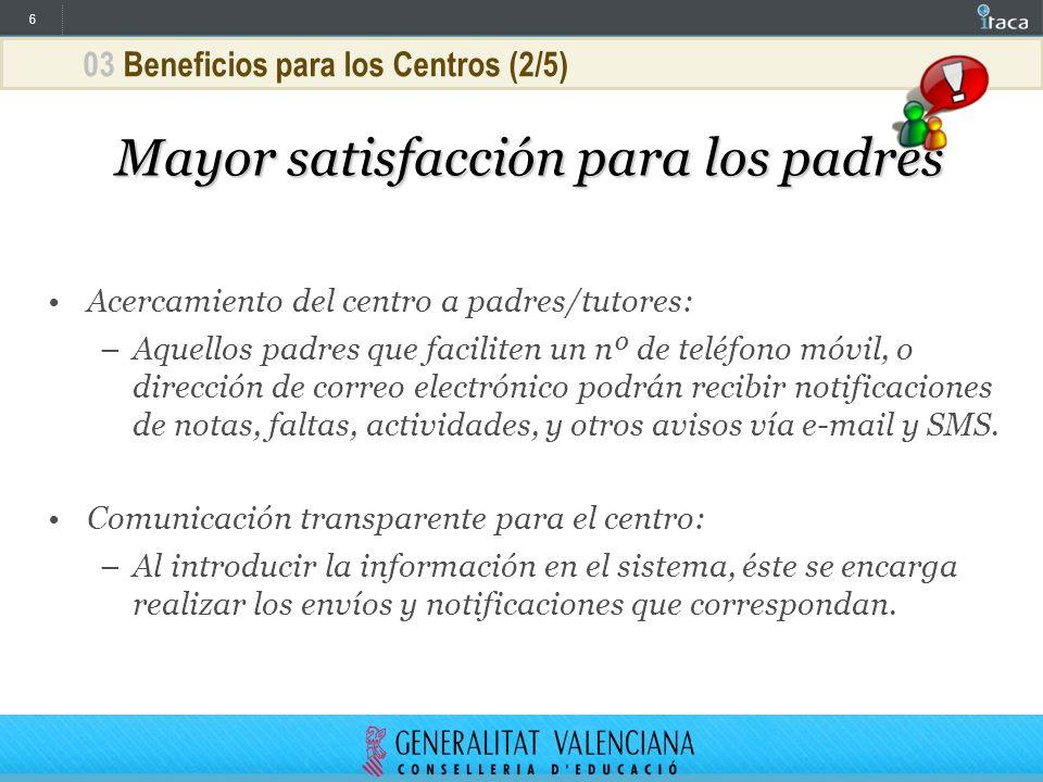 6 03 Beneficios para los Centros (2/5) Mayor satisfacción para los padres Acercamiento del centro a padres/tutores: –Aquellos padres que faciliten un