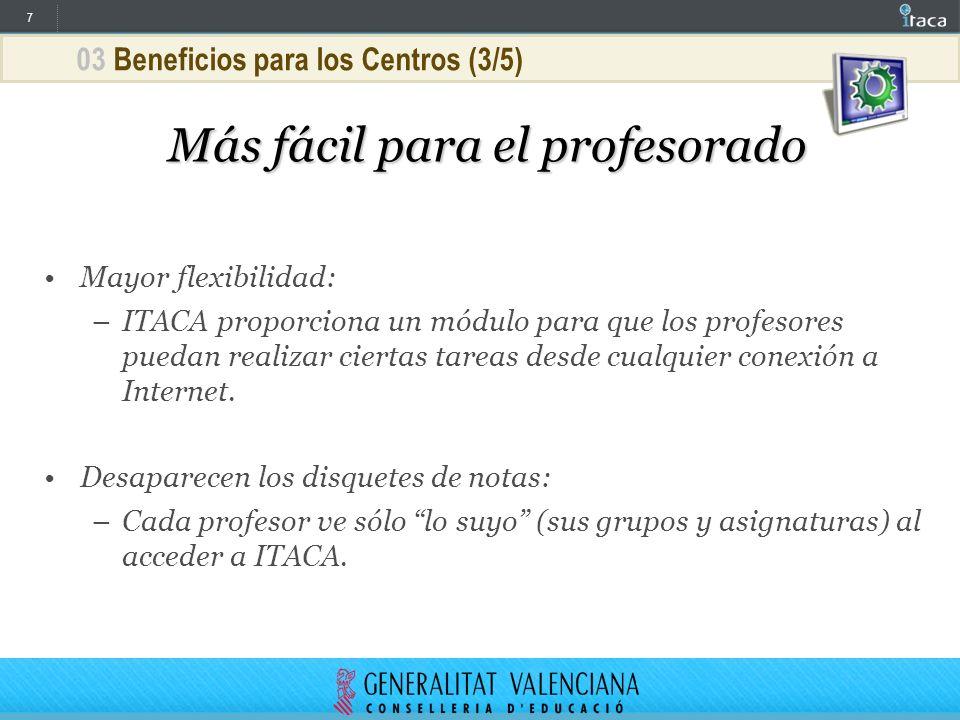 7 03 Beneficios para los Centros (3/5) Más fácil para el profesorado Mayor flexibilidad: –ITACA proporciona un módulo para que los profesores puedan r