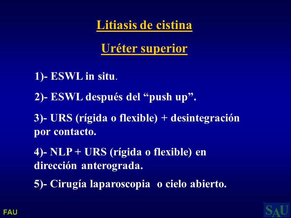 Litiasis de cistina Uréter superior 1)- ESWL in situ. 2)- ESWL después del push up. 4)- NLP + URS (rígida o flexible) en dirección anterograda. 3)- UR