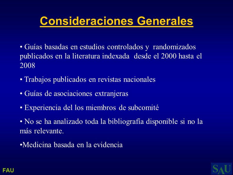 Guías basadas en estudios controlados y randomizados publicados en la literatura indexada desde el 2000 hasta el 2008 Trabajos publicados en revistas