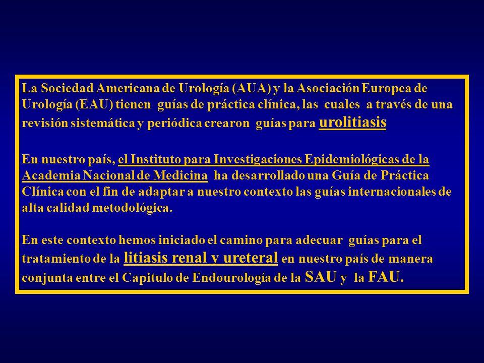 La Sociedad Americana de Urología (AUA) y la Asociación Europea de Urología (EAU) tienen guías de práctica clínica, las cuales a través de una revisió