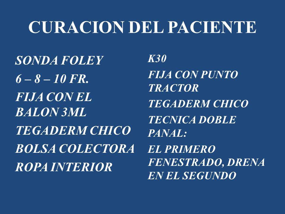 CURACION DEL PACIENTE SONDA FOLEY 6 – 8 – 10 FR. FIJA CON EL BALON 3ML TEGADERM CHICO BOLSA COLECTORA ROPA INTERIOR K30 FIJA CON PUNTO TRACTOR TEGADER