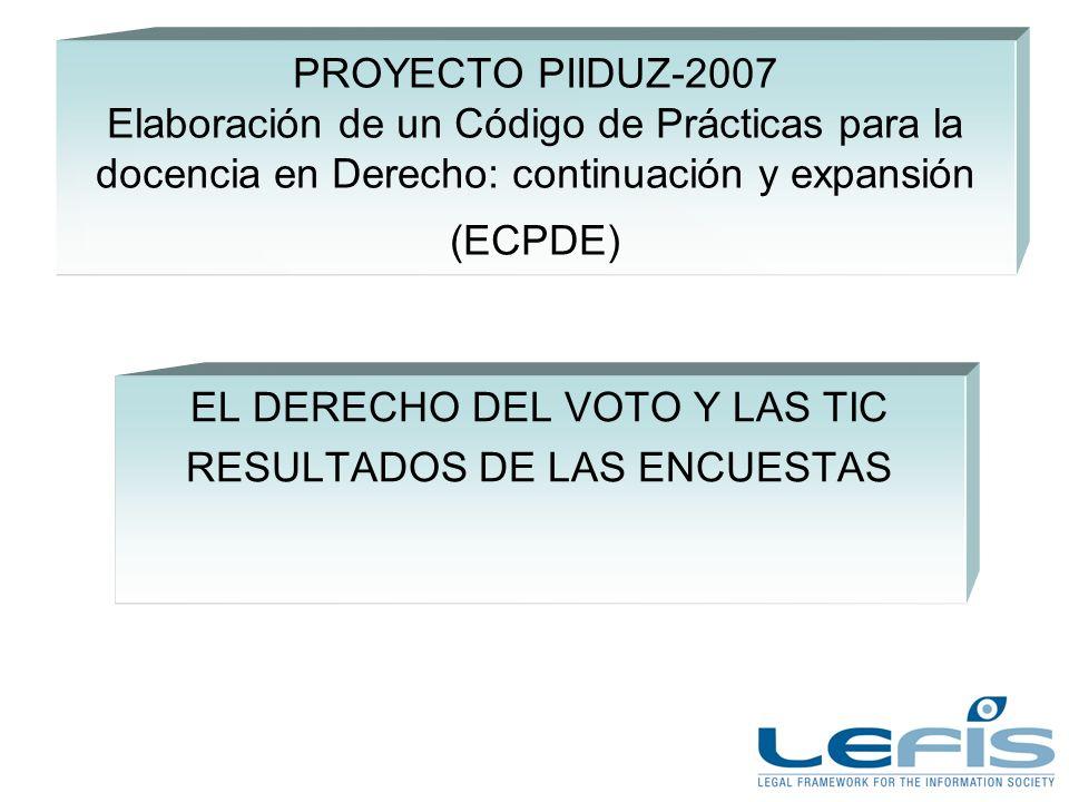 PROYECTO PIIDUZ-2007 Elaboración de un Código de Prácticas para la docencia en Derecho: continuación y expansión (ECPDE) EL DERECHO DEL VOTO Y LAS TIC RESULTADOS DE LAS ENCUESTAS