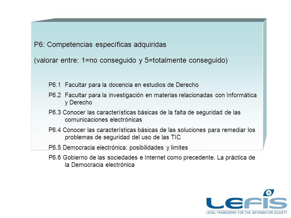 P6: Competencias específicas adquiridas (valorar entre: 1=no conseguido y 5=totalmente conseguido) P6.1Facultar para la docencia en estudios de Derecho P6.2Facultar para la investigación en materias relacionadas con Informática y Derecho P6.3 Conocer las características básicas de la falta de seguridad de las comunicaciones electrónicas P6.4 Conocer las características básicas de las soluciones para remediar los problemas de seguridad del uso de las TIC P6.5 Democracia electrónica: posibilidades y limites P6.6 Gobierno de las sociedades e Internet como precedente.