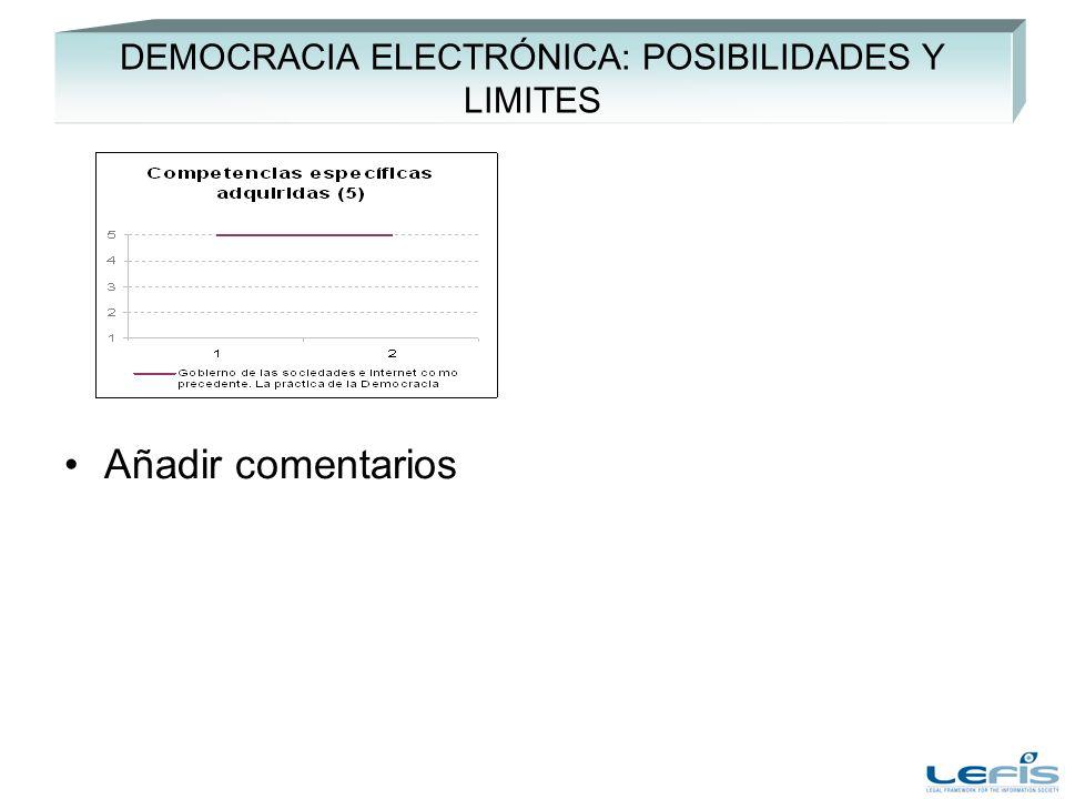 DEMOCRACIA ELECTRÓNICA: POSIBILIDADES Y LIMITES Añadir comentarios