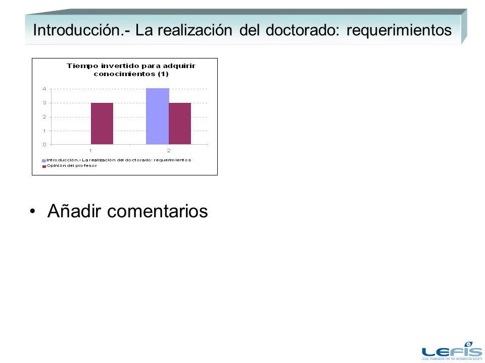 Introducción.- La realización del doctorado: requerimientos Añadir comentarios