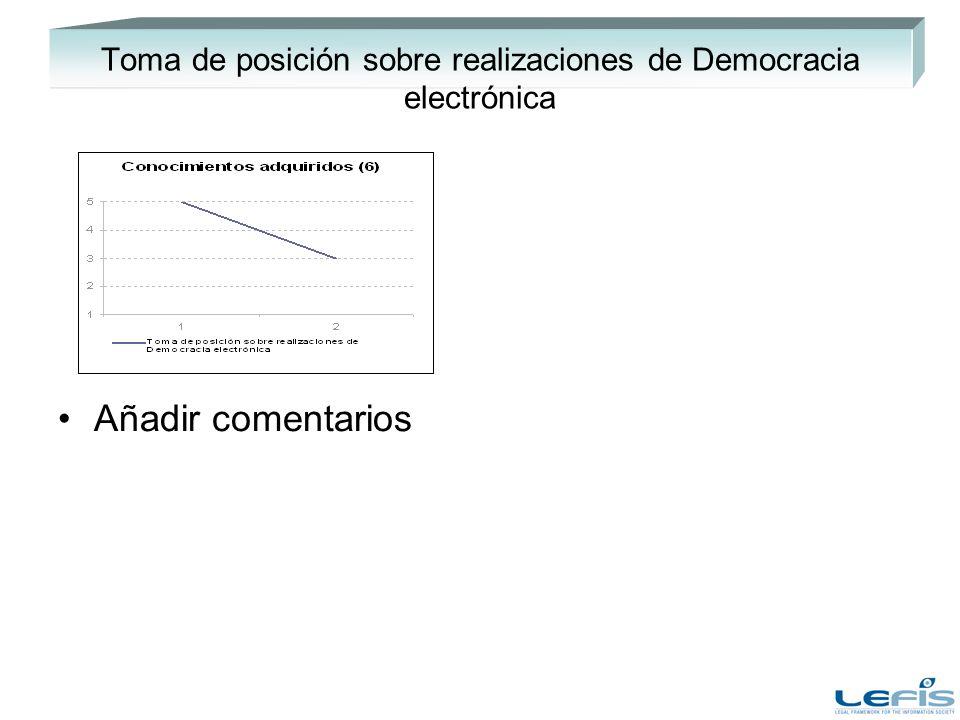 Toma de posición sobre realizaciones de Democracia electrónica Añadir comentarios