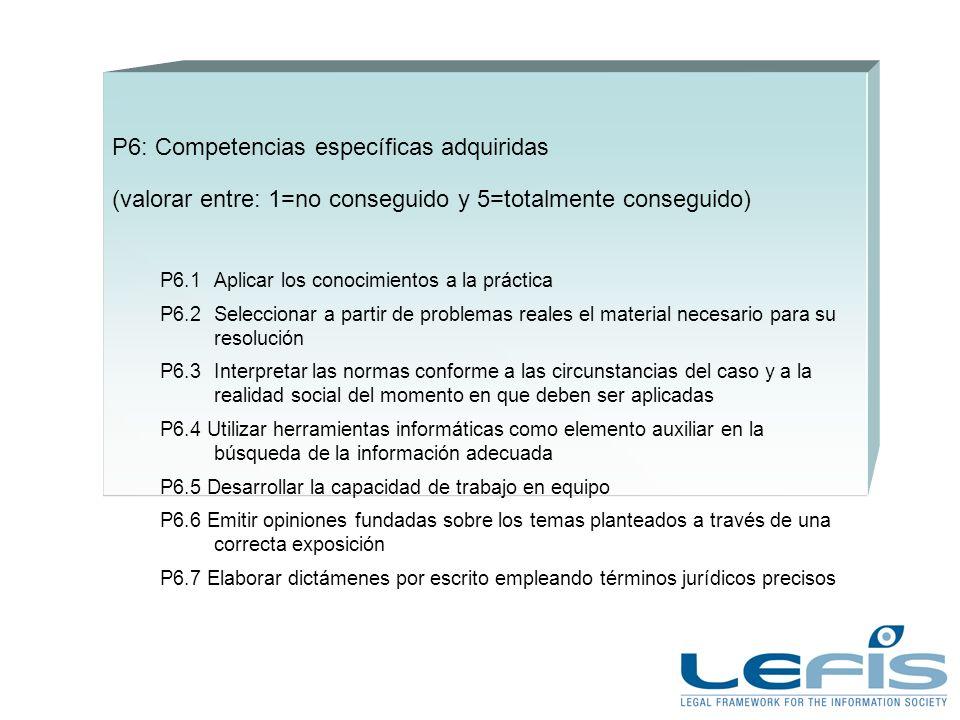 P6: Competencias específicas adquiridas (valorar entre: 1=no conseguido y 5=totalmente conseguido) P6.1Aplicar los conocimientos a la práctica P6.2Sel