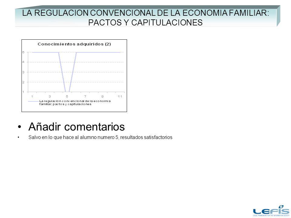 LA REGULACION CONVENCIONAL DE LA ECONOMIA FAMILIAR: PACTOS Y CAPITULACIONES Añadir comentarios Salvo en lo que hace al alumno numero 5, resultados sat