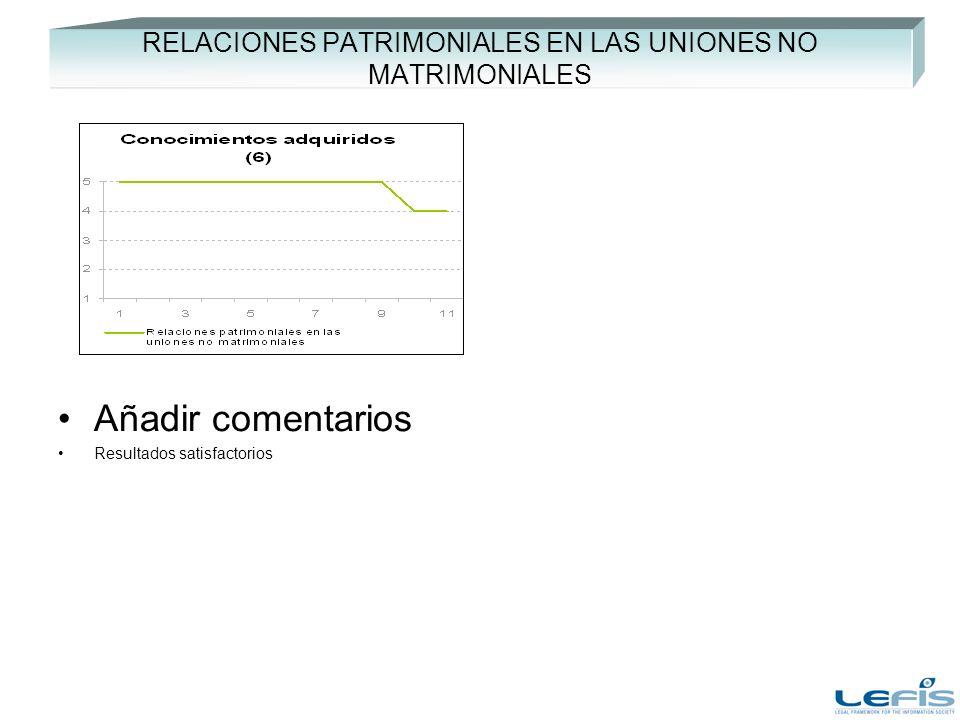RELACIONES PATRIMONIALES EN LAS UNIONES NO MATRIMONIALES Añadir comentarios Resultados satisfactorios