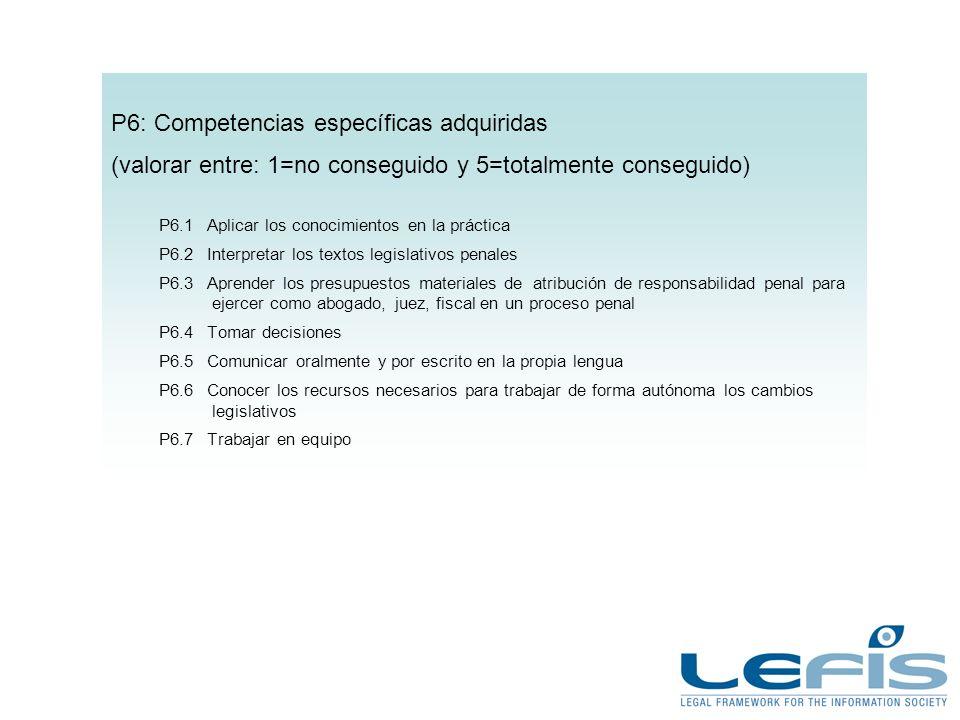 P6: Competencias específicas adquiridas (valorar entre: 1=no conseguido y 5=totalmente conseguido) P6.1Aplicar los conocimientos en la práctica P6.2In