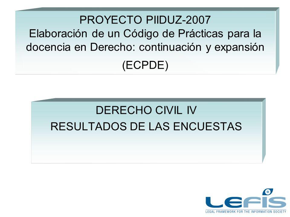 PROYECTO PIIDUZ-2007 Elaboración de un Código de Prácticas para la docencia en Derecho: continuación y expansión (ECPDE) DERECHO CIVIL IV RESULTADOS DE LAS ENCUESTAS