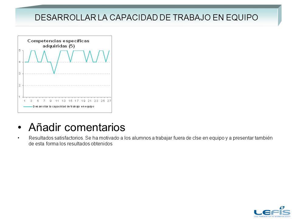 DESARROLLAR LA CAPACIDAD DE TRABAJO EN EQUIPO Añadir comentarios Resultados satisfactorios.