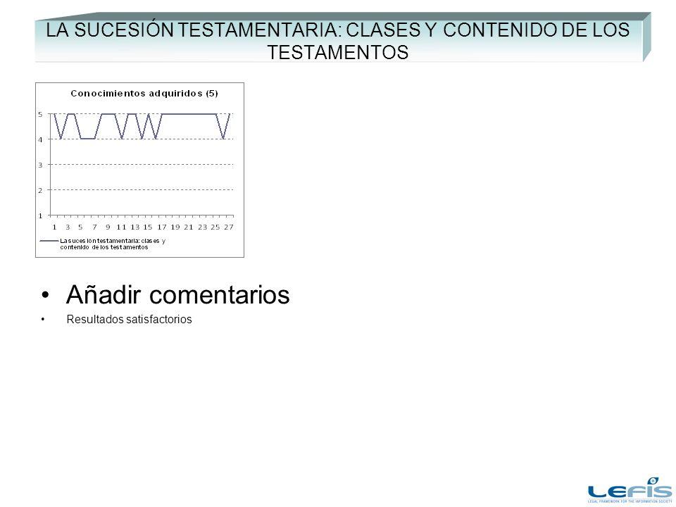 LA SUCESIÓN TESTAMENTARIA: CLASES Y CONTENIDO DE LOS TESTAMENTOS Añadir comentarios Resultados satisfactorios
