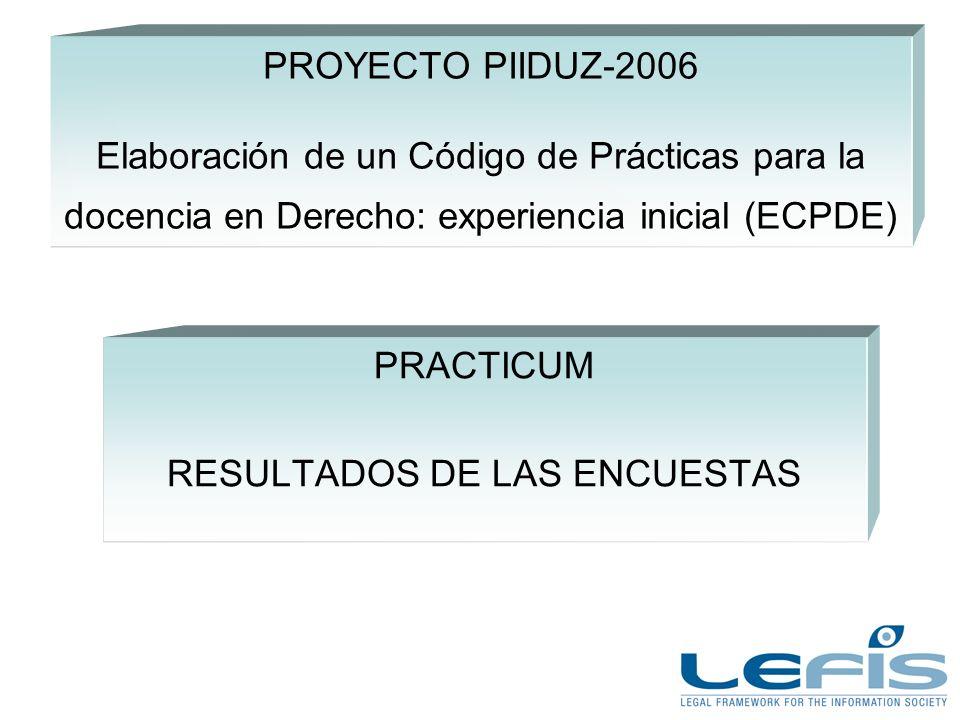 PROYECTO PIIDUZ-2006 Elaboración de un Código de Prácticas para la docencia en Derecho: experiencia inicial (ECPDE) PRACTICUM RESULTADOS DE LAS ENCUESTAS