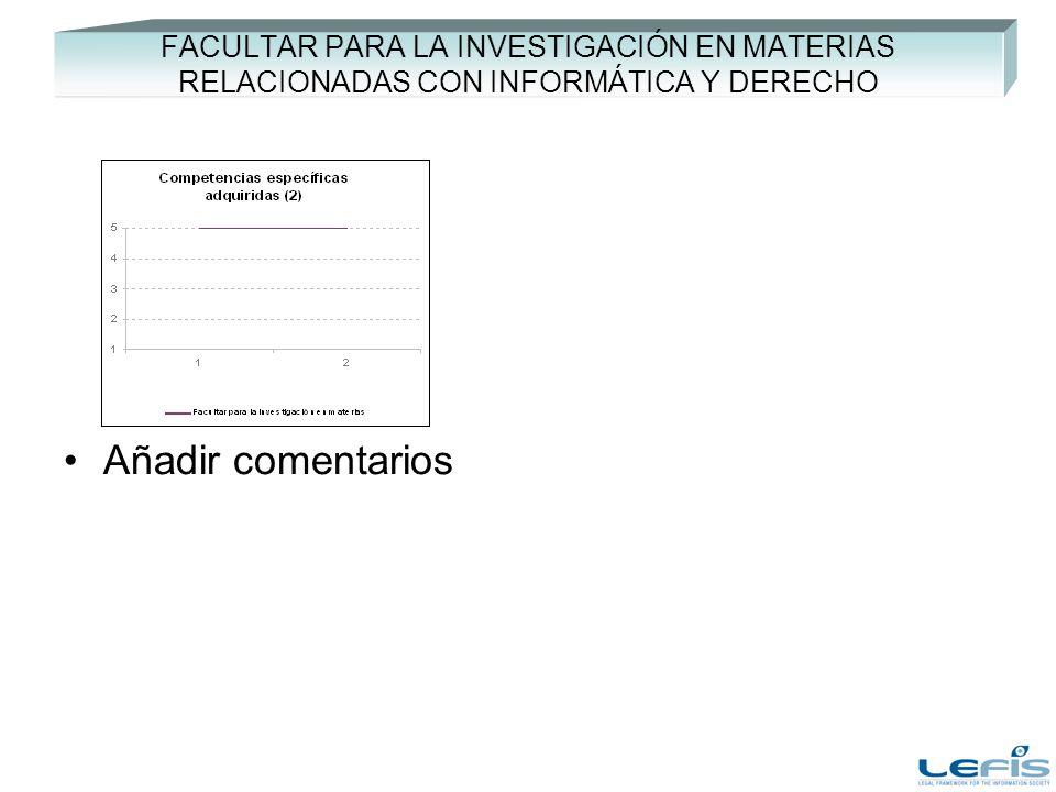 FACULTAR PARA LA INVESTIGACIÓN EN MATERIAS RELACIONADAS CON INFORMÁTICA Y DERECHO Añadir comentarios