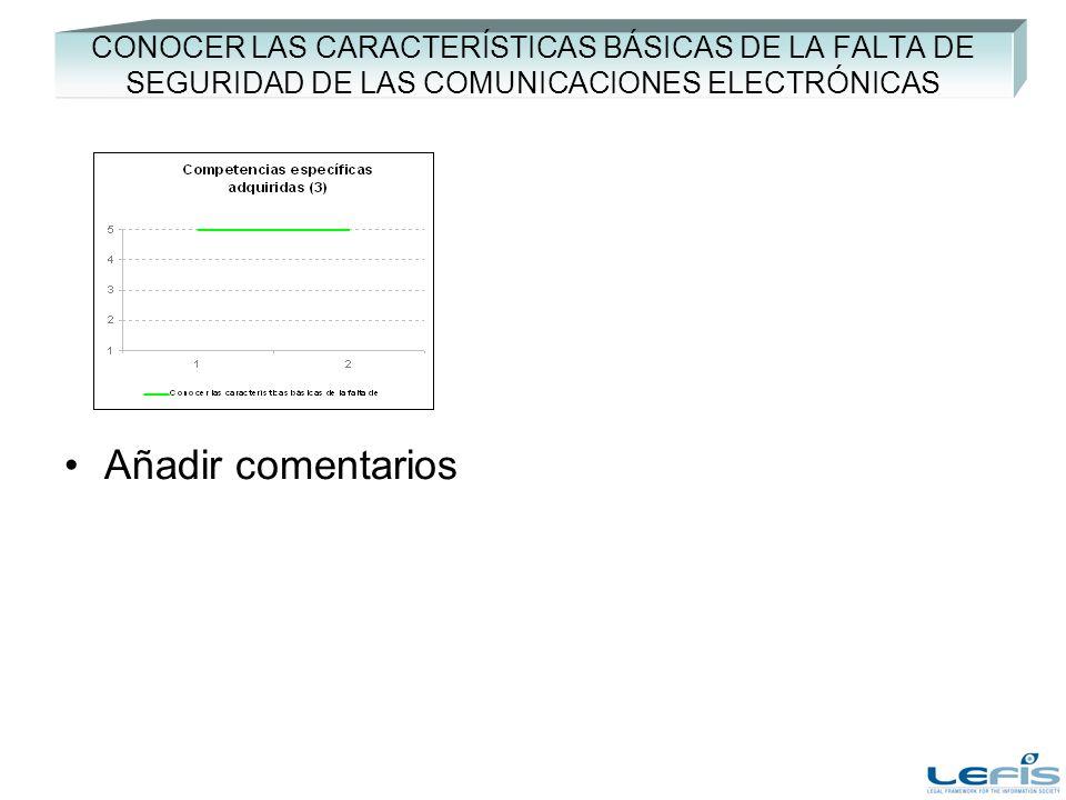 CONOCER LAS CARACTERÍSTICAS BÁSICAS DE LA FALTA DE SEGURIDAD DE LAS COMUNICACIONES ELECTRÓNICAS Añadir comentarios
