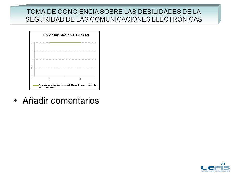 TOMA DE CONCIENCIA SOBRE LAS DEBILIDADES DE LA SEGURIDAD DE LAS COMUNICACIONES ELECTRÓNICAS Añadir comentarios
