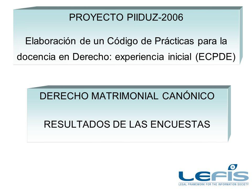 PROYECTO PIIDUZ-2006 Elaboración de un Código de Prácticas para la docencia en Derecho: experiencia inicial (ECPDE) DERECHO MATRIMONIAL CANÓNICO RESULTADOS DE LAS ENCUESTAS