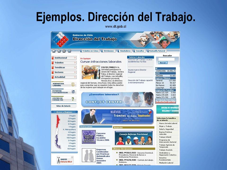 Ejemplos. Dirección del Trabajo. www.dt.gob.cl