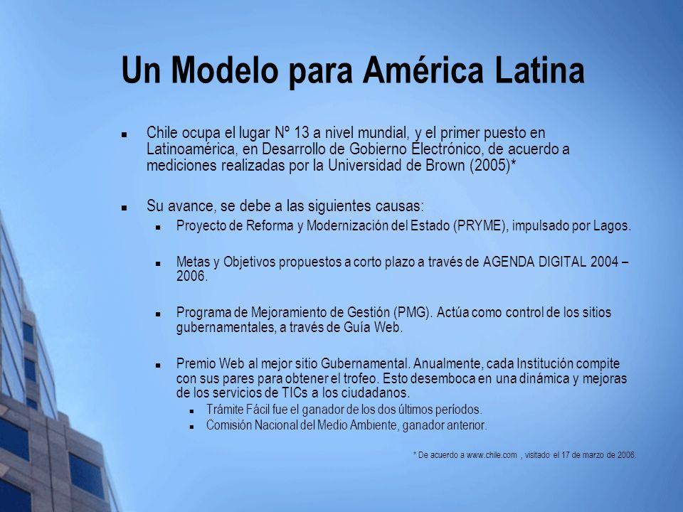 Un Modelo para América Latina Chile ocupa el lugar Nº 13 a nivel mundial, y el primer puesto en Latinoamérica, en Desarrollo de Gobierno Electrónico,