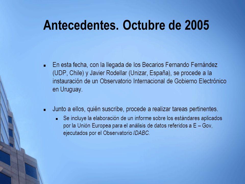 Antecedentes. Octubre de 2005 En esta fecha, con la llegada de los Becarios Fernando Fernández (UDP, Chile) y Javier Rodellar (Unizar, España), se pro