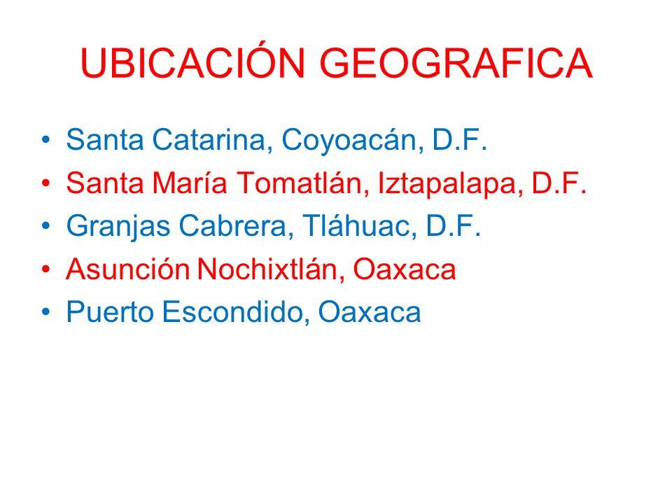 UBICACIÓN GEOGRAFICA Santa Catarina, Coyoacán, D.F. Santa María Tomatlán, Iztapalapa, D.F. Granjas Cabrera, Tláhuac, D.F. Asunción Nochixtlán, Oaxaca