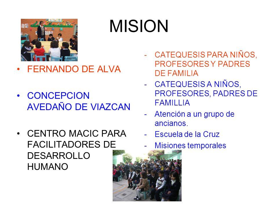 MISION FERNANDO DE ALVA CONCEPCION AVEDAÑO DE VIAZCAN CENTRO MACIC PARA FACILITADORES DE DESARROLLO HUMANO -CATEQUESIS PARA NIÑOS, PROFESORES Y PADRES