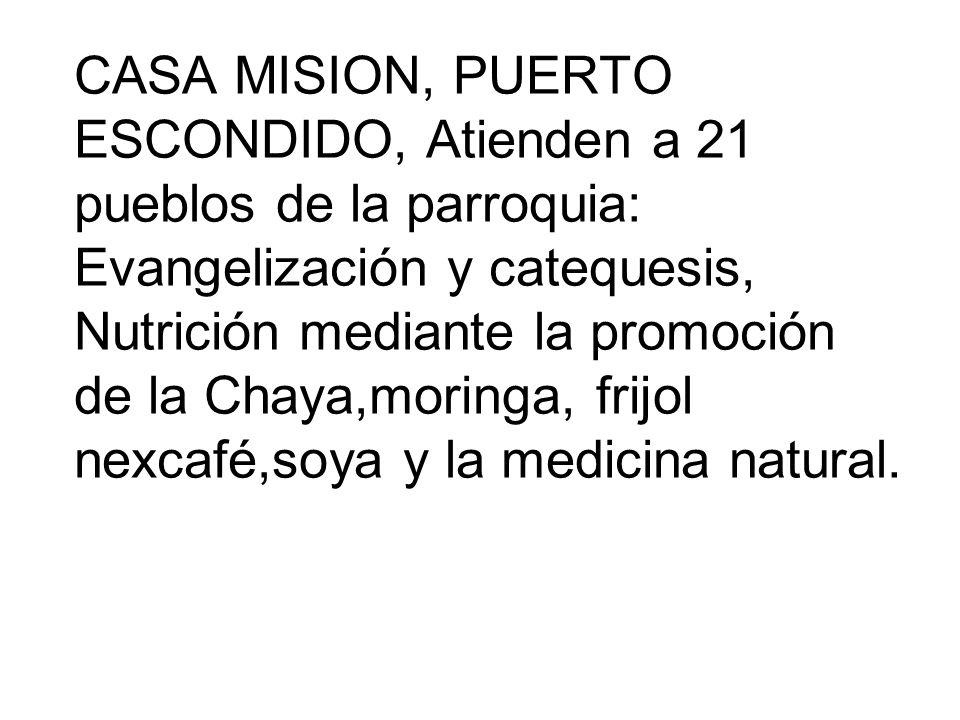 CASA MISION, PUERTO ESCONDIDO, Atienden a 21 pueblos de la parroquia: Evangelización y catequesis, Nutrición mediante la promoción de la Chaya,moringa