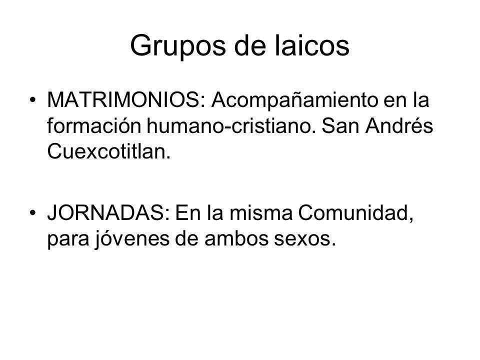 Grupos de laicos MATRIMONIOS: Acompañamiento en la formación humano-cristiano. San Andrés Cuexcotitlan. JORNADAS: En la misma Comunidad, para jóvenes