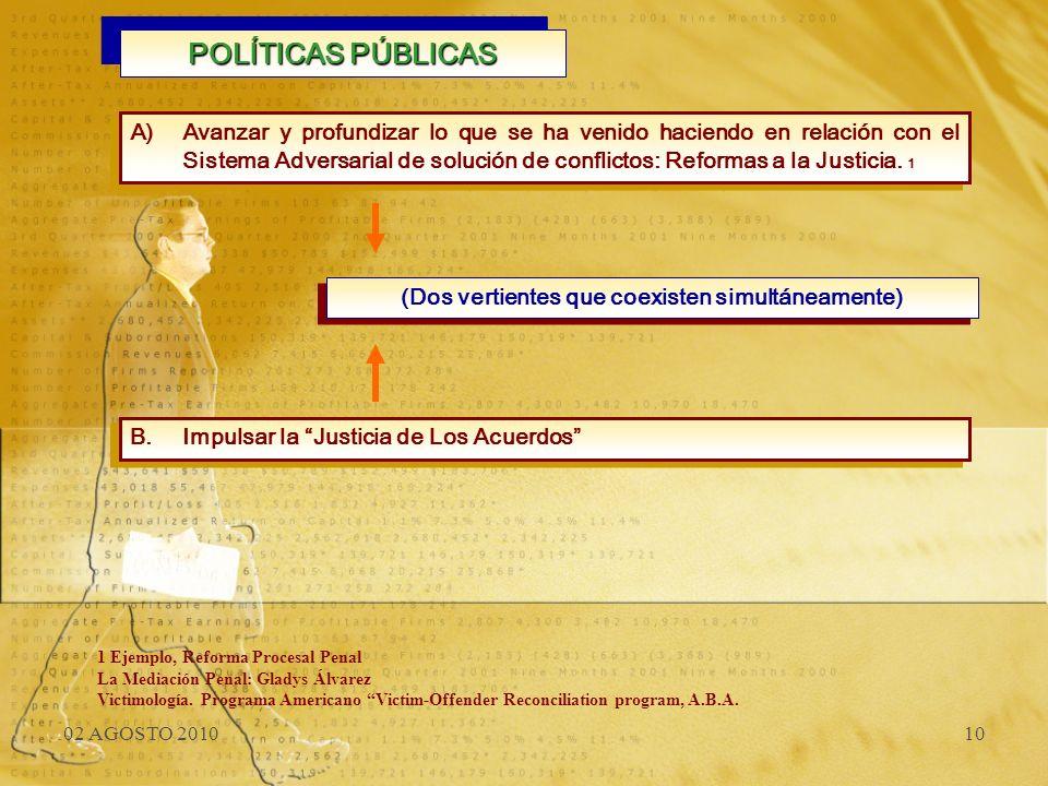 02 AGOSTO 201010 POLÍTICAS PÚBLICAS A)Avanzar y profundizar lo que se ha venido haciendo en relación con el Sistema Adversarial de solución de conflic